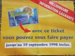 Française Des Jeux , Millionnaire , Affiche 30 X 40 Cms - Billets De Loterie