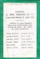 Lieu-Saint-Amand (59) Bleurvacq Marchand Bustin Gardez Leduc Robin Dhaussy Pisson Robail 2scans 15-06-1980 12,4 X 7,5 Cm - Images Religieuses