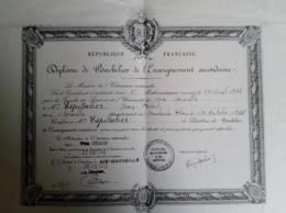 Diplôme De Bachelier De L Enseignement Secondaire Baccalauréat Espitalier Marine Marseille Ministre éducation Delbos - Diplômes & Bulletins Scolaires