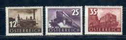 AUSTRIA 1937 - 100° FERROVIE - TRENI - LOCOMOTIVE - SERIE COMPLETA LINGUELLATA - MH* - Unused Stamps