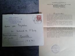 Avis D Admission Au épreuves Du Baccalauréat Série C  1943 Espitalier Avec Enveloppes Facultés Des Sciences Mrs - Diplômes & Bulletins Scolaires