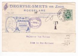 881/29 - Carte Illustrée TP Lion Héraldique ROESELARE 1929 Vers NL - Entete Degryse-Smets , Pudding Powder Amanda - TAXE - 1929-1937 León Heráldico