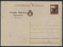 1945 Italia, Cartolina Postale Con Soprastampa Privata Circolo Filatelico Giovanile Verona, Nuova (**) - Storia Postale