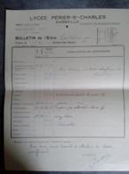 Bulletin Scolaire Lycée Perier St Charles 1937 1938 Second Trimestre  Espitalier Marseille - Diplômes & Bulletins Scolaires