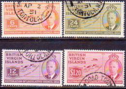 BRITISH VIRGIN ISLANDS 1951 SG 132-35 Compl.set Used Resoration Of Legislative Council - British Virgin Islands
