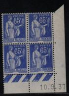 FRANCE  Coin Daté **  Type Paix 65c Bleu  Yvert 365  10.9.37  Neuf Sans Charnière - Coins Datés