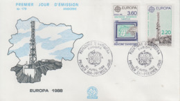 Enveloppe  FDC  1er  Jour   ANDORRE   ANDORRA   Paire    EUROPA    1988 - Europa-CEPT