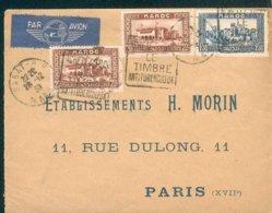 MAROC MOROCCO MAROKKO LETTRE PAR AVION 1938 Ob RABAT DAGUIN  Pour Paris PUB VERSO LA RELIGO MACHINE A RELIURE TB - Marocco (1891-1956)