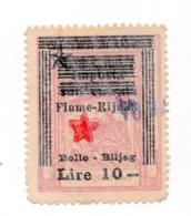 1945 YUGOSLAVIA, ITALY, CROATIA, FIUME, RIJEKA, ITALIAN REVENUE STAMP PREPRINTED, 10 LIRE - Officials