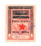 1945 YUGOSLAVIA, ITALY, CROATIA, FIUME, RIJEKA, ITALIAN REVENUE STAMP PREPRINTED, 1 LIRA - Officials