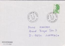 Lettre 1987 TàD Manuel AGENCE COMMERCIALE DES TELECOM 25 BESANCON Doubs Sur Liberté A PNU Pour Allemagne - Marcofilia (sobres)