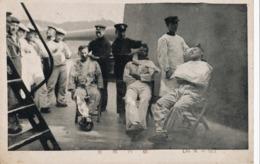 JAPAN WAR, BARBER CUTTING HAIR TO SOLDIERS  On WARSHIP, Original Postcard - Japan