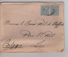 PR6978/ Spain Cover 1892 > Belgium Liège C.d'arrivée + C.Facteur 30 - 1889-1931 Royaume: Alphonse XIII