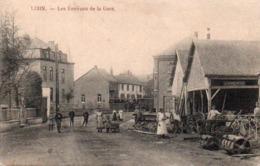 Libin  Les Environs De La Gare Avec Tram Dans Le Fond Bien Animée Circulé En 1915 - Libin