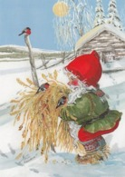 Bird - Birds - Oiseau - Vogel - Uccello - Pássaro - Elf Feeding Bullfinches In Winter Landscape - Christmas