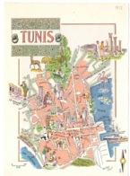 Tunis 1952 Carte Plan De La Ville Illustré Par Jacque Liozu Extrait D Un Livre - Tunisie - Cartes Géographiques