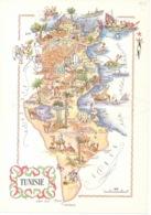 Tunisie 1952 Carte Géographique - Illustré Par Jacque Liozu Tunis Souse Kairouan Gafsa Sfax Gabes Djerba Bizerte - Cartes Géographiques