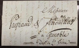 66 DELLEMONT 1813 LETTRE GRENOBLE PAYRAUD & FERROUILLAT BERBIER LIQUEURS HAUT-RHIN ALSACE - 1801-1848: Voorlopers XIX