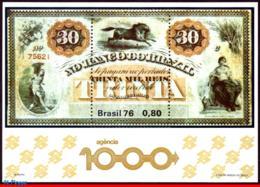 Ref. BR-1484 BRAZIL 1976 BANK + INSURANCE, 1000 BANK BRANCH OF BANK, OF BRAZIL,BANKNOTE,HORSE,MI#B38,MNH 1V Sc# 1484 - Monnaies
