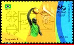 Ref. BR-3318K BRAZIL 2015 SPORTS, OLYMPIC GAMES, RIO 2016,, BASKETBALL, STAMP OF 4TH SHEET, MNH 1V Sc# 3318K - Brésil