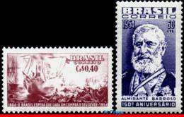 Ref. BR-808-09 BRAZIL 1954 SHIPS, BOATS, ADMIRAL BARROSO, RIVER, BATTLE OF RIACHUELO, WAR, SET MNH 2V Sc# 808-809 - Neufs