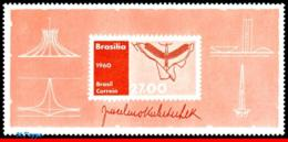 Ref. BR-908 BRAZIL 1960 ARCHITECTURE, JUSCELINO KUBITSCHEK,, PRESIDENT, BUILDER OF BRASILIA, S/S MNH 1V Sc# 908 - Brésil