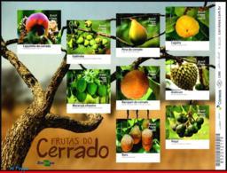Ref. BR-V2016-18-4 BRAZIL 2016 FRUITS, FRUITS OF CERRADO,, PLANTS, MINISHEET MNH 9V - Fruits