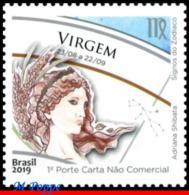 Ref. BR-V2019-18 BRAZIL 2019 - ASTROLOGY, ZODIAC SIGNS, VIRGO,, 6TH ISSUE, CONSTELLATION OF VIRGO, MNH,1V - Brésil