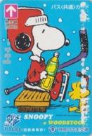 Carte Prépayée Japon - BD Comics - SNOOPY ** Ice Hockey Sur Glace ** - PEANUTS Japan Prepaid Bus Card - Chien Dog - 2767 - BD