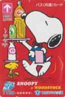 Carte Prépayée Japon - BD Comics - SNOOPY ** Serveur Barman ** - PEANUTS Japan Prepaid Bus Card - Chien Dog - 2770 - BD