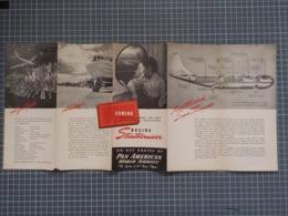 Cx 9) PAN AM PAN AMERICA WORLD AIRWAYS BOEING STRATOCRUISER Promotional FOLDING Flyer - Advertisements