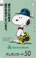 Télécarte Ancienne Japon / 110-20154 - BD Comics - CHIEN SNOOPY - PEANUTS DOG Japan Front Bar Phonecard / A - 2773 - BD