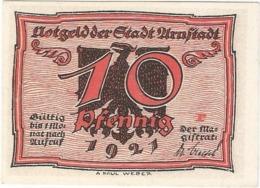 Alemania (NOTGELD) - Germany 10 Pfennig Arnstadt 1921 Dnb 43 1.2  UNC Ref 3215-1 - [11] Lokale Uitgaven