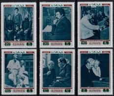 Ajman 1971 MNH 6v, Nobel Prize, Medicine, Dr. Schweitzer, Dogs, Children, Music ( - Nobelpreisträger