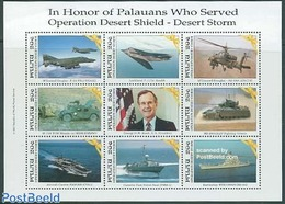 Palau 1991 Liberation Of Kuwait 9v M/s, (Mint NH), Transport - Helicopters - Ships And Boats - Aircraft & Aviat.. - Militares