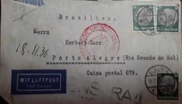 O) 1936 GERMANY. PRES. VON HINDENBURG SC 397 50pf, DEUSCHE LUFTPOST - BRASILIEN . TO PORTO ALEGRE, XF - Germany