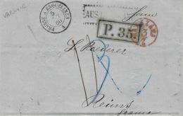 "1860- Letter From Riga To Reims ( France )  "" AUS RUSSLAND ""  Red + Könisberg / Bromberg  Bureau Amb. N°12 - ...-1857 Prephilately"
