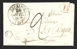 Aveyron-Lettre Avec Cachet Type 13 D'Espalion-Boite Rurale C - Marcophilie (Lettres)