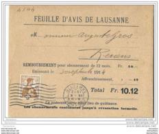51 - 58 - Carte  Remboursement De La Feuille D'avis De Lausanne 1913 - Suisse