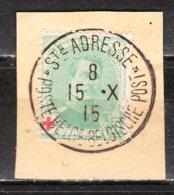 129  Albert Ier Petit Médaillon - Sur Fragment - Oblit. Centrale STE ADRESSE - LOOK!!!! - 1914-1915 Red Cross
