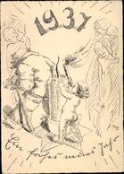 Artiste Cp Glückwunsch Neujahr, Jahreszahl 1937, Engel, Kerze - Anno Nuovo