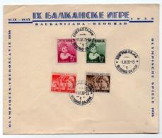 01.09.1938 YUGOSLAVIA, SERBIA, BELGRADE FAIR, BALKAN GAMES COVER, OLYMPIC GAMES YUGOSLAVIA 1938,OUR CHILDREN STAMPS - Covers & Documents
