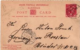 Zanzibar 1898 - Post Card 1 Anna To Breslau - Stationery Entier Ganzsache - Zanzibar (...-1963)