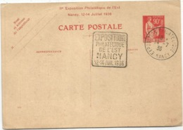 ENTIER 90C ROUGE PAIX CP CALLOT EXPO PHIL DE L'EST NANCY 12.14. JUILLET 1936 SUPERBE - 1932-39 Peace