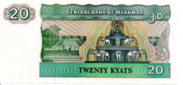 Myanmar Billet Banknote 20 Twenty Kyats éléphant - Myanmar