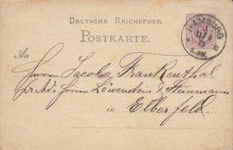 Deutsche Reichspost Postal Stationery Ganzsache 5 PfE. Ziffer HAMBURG 1875 EBERFELD (2 Scans) - Germany