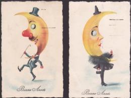 Série De 2 CPA  Illustrées - Madame Et Monsieur Lune - Bonne Année 1926 - Astronomy