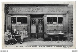 AUMALE   Café Restaurant Boucher   (recto-verso) - Aumale