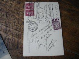 Lettre Taxee Timbre Duval Chiffre Taxe 50 C Bord De Feuille Couleur - Storia Postale
