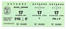 Billet De Transport Aller Retour GRENOBLE - AUTRANS 17 Février 1968 Jeux Olympiques D'hiver Grenoble  SKI DE FOND 50 KM - Olympics